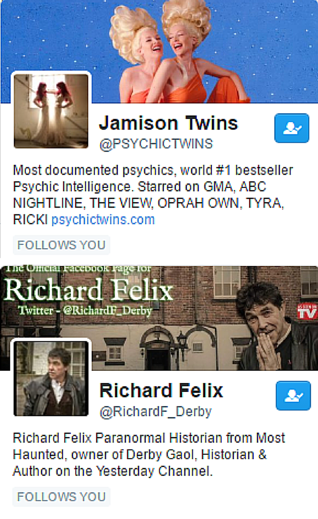 Psychic Student is followed on Twitter by the Psychic Twins and Richard Felix