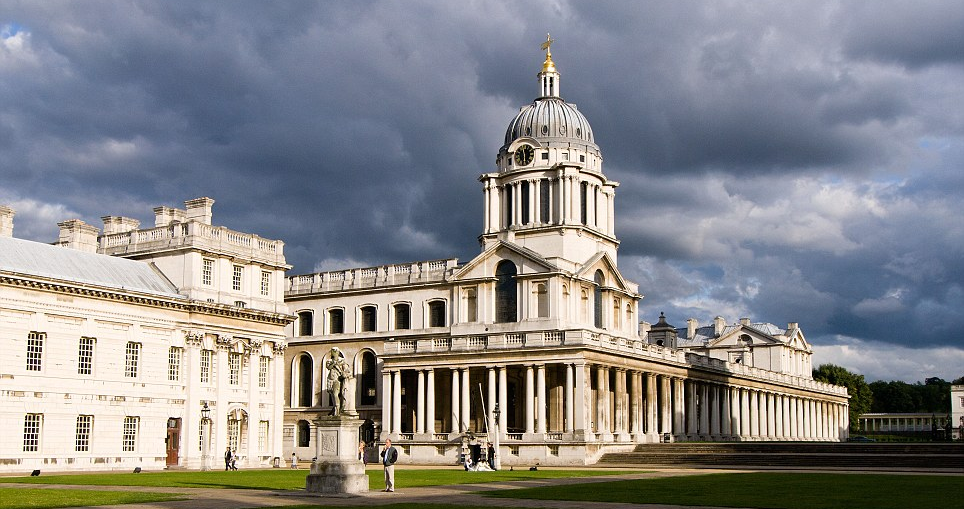 National Maritime Museum Greenwich London where the photo of the robed figure on the Tulip Staircase was photographed
