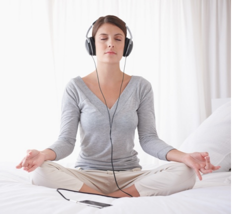 meditating with headphones opt